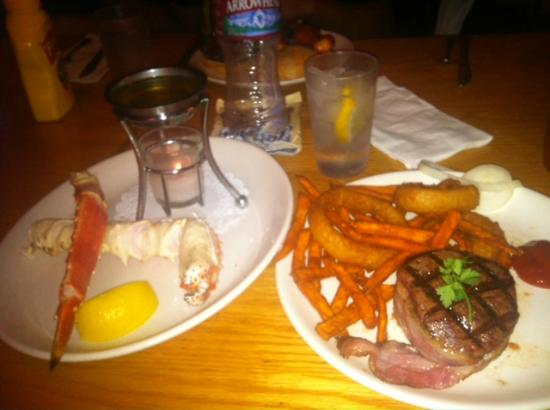 The Corral Bar & Steakhouse : Filet Mignon, King Crab & sweet potato fries