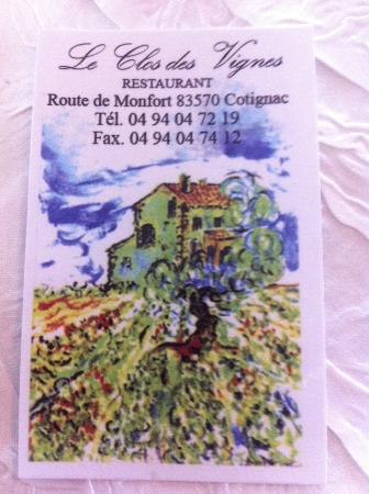 Le Clos des vignes : Business card