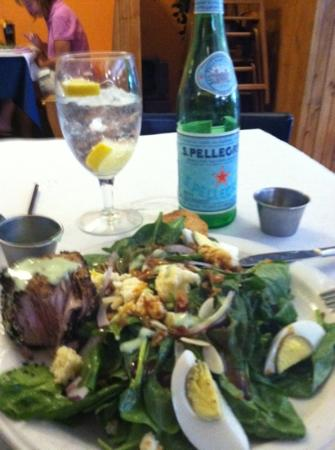Blue Water grill: Spinach salad with a side of Ahi Tuna. Balsamic warm dressing with a awesome Wasabi sauce