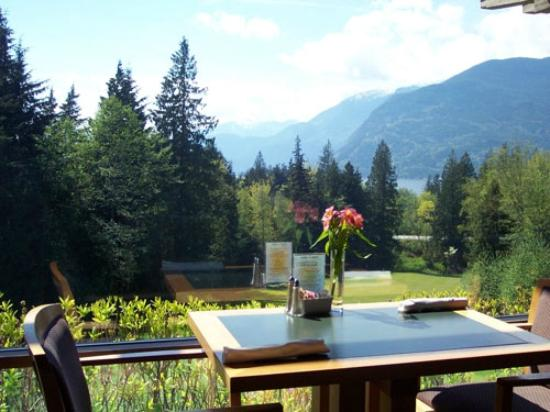 Sea to Sky Grill at Furry Creek: Views of Howe Sound and the 18th hole from the Sea to Sky Grill