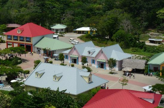 Clip N  Zip Canopy Tours: mahogany bay market place from the ship Clip n Zip top center white roof