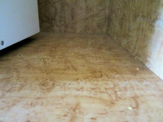Comfort Inn: Food crumbs under the microwave