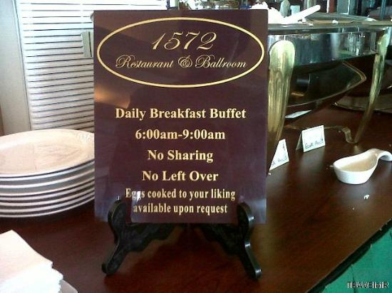 Fernandina 88 Suites Hotel: Breakfast sign