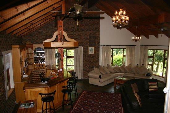 Blackwaters River Lodge : Ladies bar, DSTV & log fire place