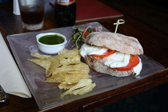 The Huntsman Inn: Buffalo Mozzarella, Tomato and Pesto Ciabatta (£6.95)