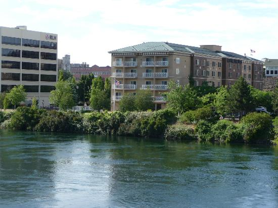 Oxford Suites Downtown Spokane: Pic of hotel taken from a bridge.