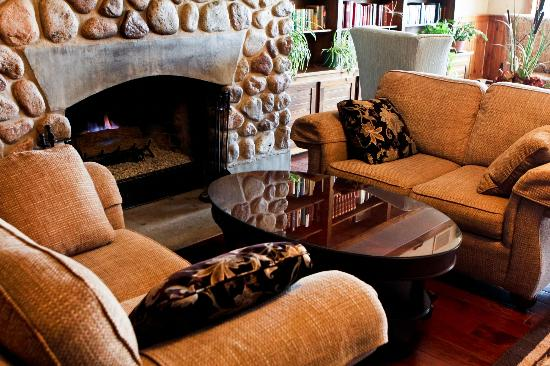 Water's Edge Inn: Lakeview Library with Fireplace