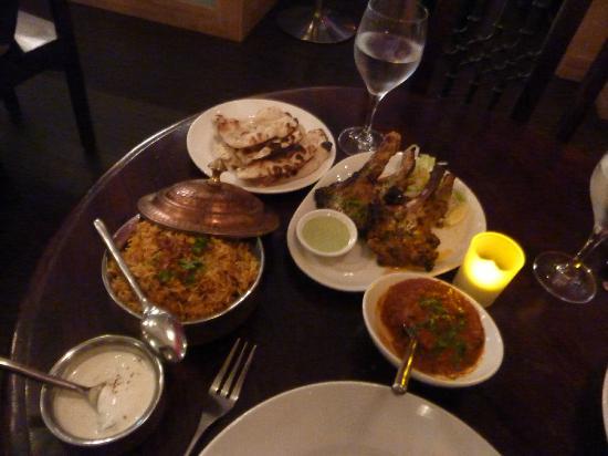 ERIKI - Crowne Plaza: Mint yoghurt sauce (for lamb), Chicken biryani, nan, lamb chops and red curry sauce.