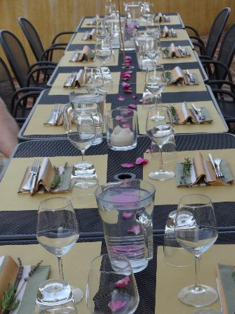 Borgo San Fedele: Beautifully presented dinner on patio with amazing view