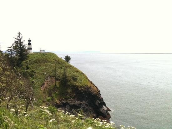 Cape Disappointment State Park : Cape Disappointment Lighthouse, as seen from the Lewis and Clark Interpretive Center.