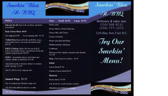 Smokin' Bluz 'n BBQ: our first menu