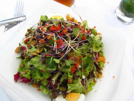 Berghotel Schlossanger Alp: Mixed salad with french dressing and sunflower seeds