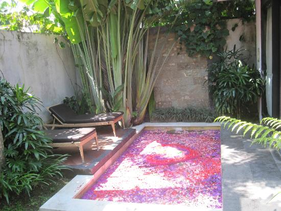 Tonys Villas & Resort: OUTSIDE POOL - ROMANTIC ROSE PETAL WELCOMING