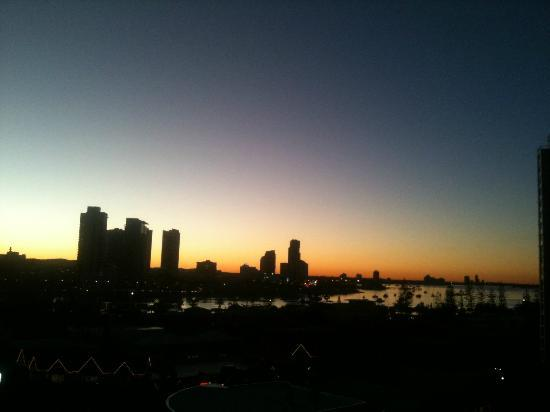 The Meriton on Main Beach: View from room - sunset.