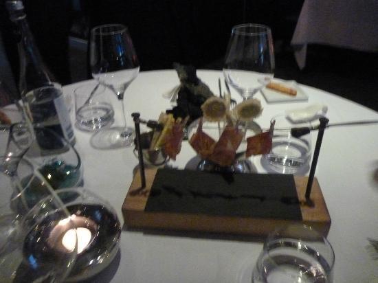 Europea: First meal - Prosciutto, fresh cheese twist sticks, goat cheese lolis
