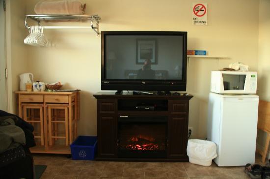 Albert's Motel: Fernseher mit elektrischen Kamin