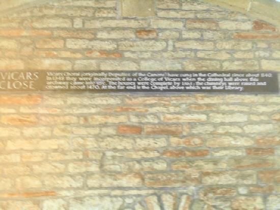Vicar's Close: details of vicars close under the tower entrance