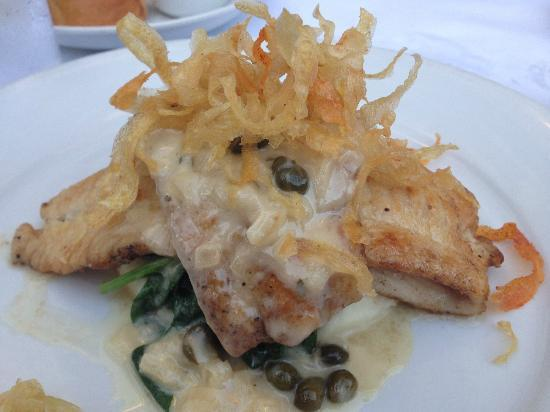 Village California Bistro and Wine Bar: Fillet of Sole with Beurre Blanc, Pureed Potato and Spinach