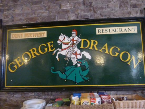 The George and Dragon: The pub sign in the dining room