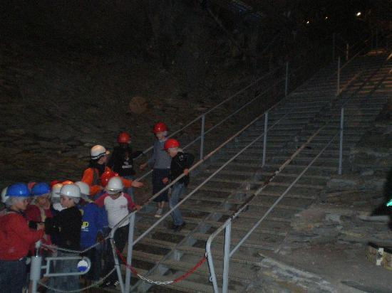 "La Mine Bleue : Up from the ""spoil tip"" to the galleries with a party of schoolchildren."