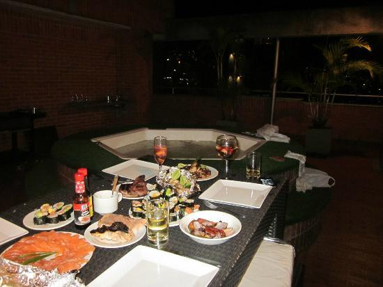 Orange Suites: our private, beautiful dinner we made on the roof by help of the friendly staff