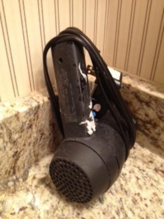 Sheraton Suites Akron Cuyahoga Falls: Not sure what ill fate this hairdryer met