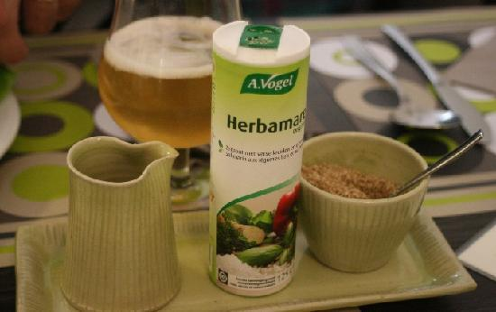 De Bron: At every table: 'Herbamare' salt, soy sauce and gomashio