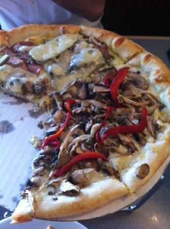Dewey's Pizza: half Cuban half wild mushroom