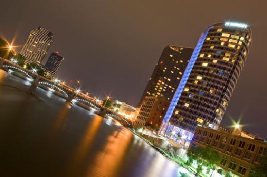 Downtown Grand Rapids, alive at night.