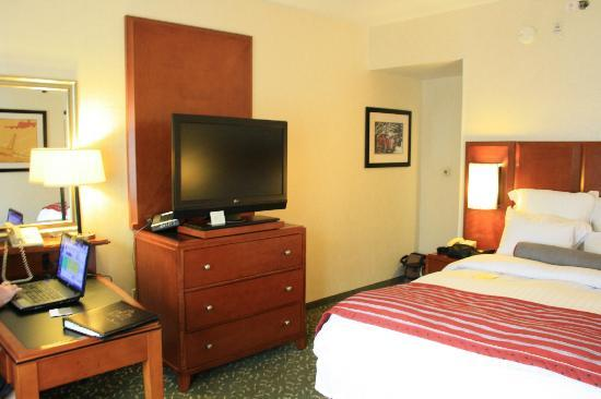 Detroit Metro Airport Marriott: TV beside bed...