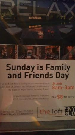 NYLO Plano at Legacy: The flyer that clearly states that kids eat free... something the Loft staff didn't understand.