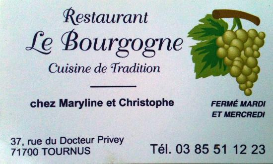 Tournus, France: carte du restaurant Bourgogne