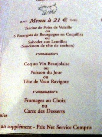 Tournus, Francia: menu Bourgogne