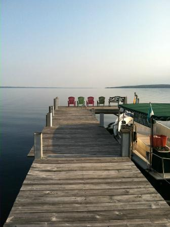 Silver Strand at Sheldrake: Early morning view of the lake from the dock.