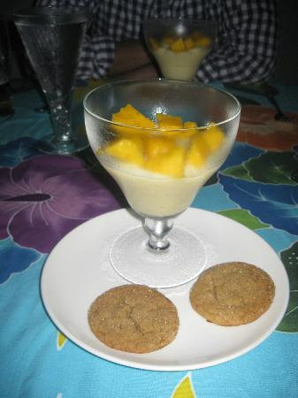 Rio Magnolia Nature Lodge: Vanilla and Mango Pudding with Homemade Ginger Cookies