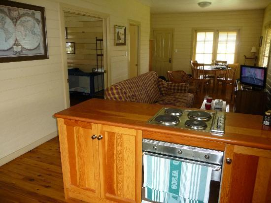 The Pines Pastoral: Looking from the kitchen to the lounge & dining