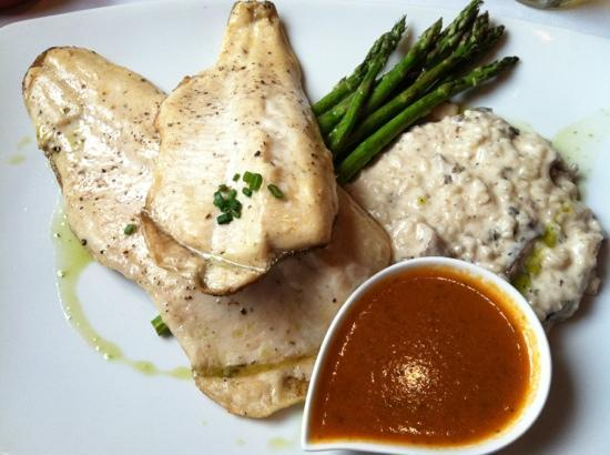 Local Chop and Grill House: local trout, mushroom risotto & roasted asparagus