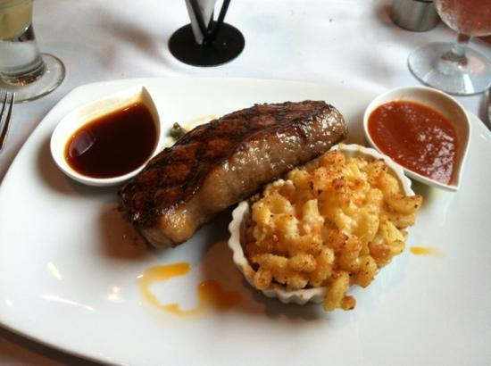 Local Chop and Grill House: new York strip, Mac & cheese