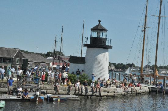 Mystic Seaport Museum: The Point Light House With Ppl Ready To Watch The  Boat Races