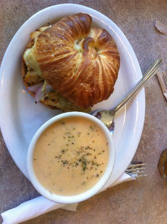Zoey's Café and All Natural Ice Cream: Chicken artichoke and pesto on a croissant, broccoli cheddar soup