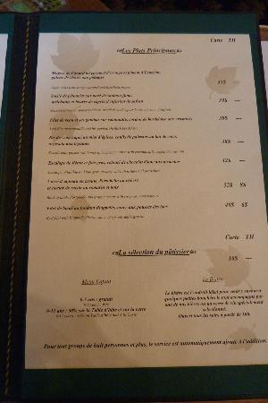Manoir des Erables : Dinner menu