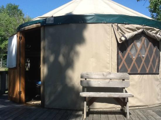 Jamestown, Pensilvania: Yurt No. 73, the biggest yurt of 3 in the camp, sleeps 4-6
