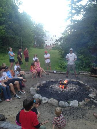 AMC Cardigan Lodge: This is the evening camp fire. Cardigan Lodge is in the background.