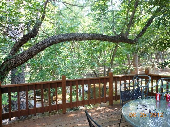 Cypress Creek Cottages: Deck overlooking Creek