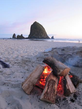 Cannon Beach: Sunset with campfire on the beach