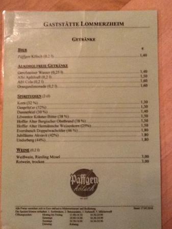 Lommerzheim: Menu - drinks