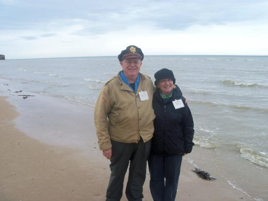 My wife and myself at the water's edge--Omaha Beach Normandy