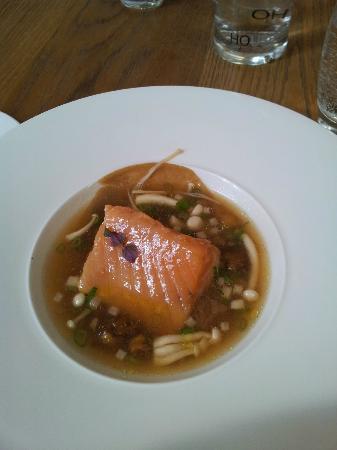 Confit salmon with fried aubergine and adegashi