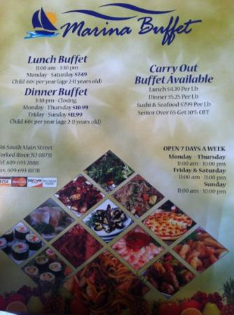 Marina buffet Chinese Restaurant 316 S Main St in Forked River