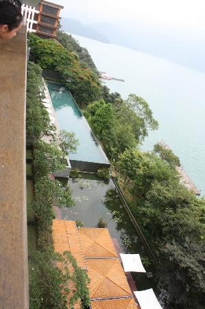 The Lalu Sun Moon Lake: view from balcony looking down